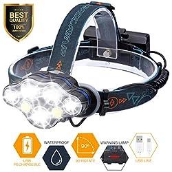 Linterna Frontal LED, SGODDE Luz Frontal de USB Rechable 5500 lm Impermeable IPX4 con 7 LEDs 8 Modos Perfecto para Acampar, Bicicleta de Montaña, Pesca, Bodega, Paseo, Acampar, Caminar