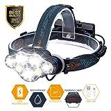 Linterna Frontal LED, SGODDE Luz Frontal de USB Rechable 5500 lm Impermeable IPX-45 con 7 LEDs 8 Modos Perfecto para Acampar, Bicicleta de Montaña, Pesca, Bodega, Paseo, Acampar, Caminar