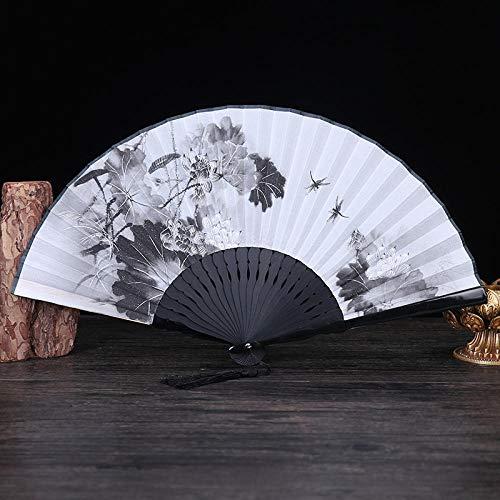 Dragonfly Kinder Kostüm - XIAOHAIZI Handfächer,Der Sommer Damen Bambus Ventilator Weiße Hohle Anlage Lotus Dragonfly Blatt Vintage Folding Lüfter Geeignet Für Hochzeit Lady Gift Tanz Ventilator U-Bahn Folding Fan