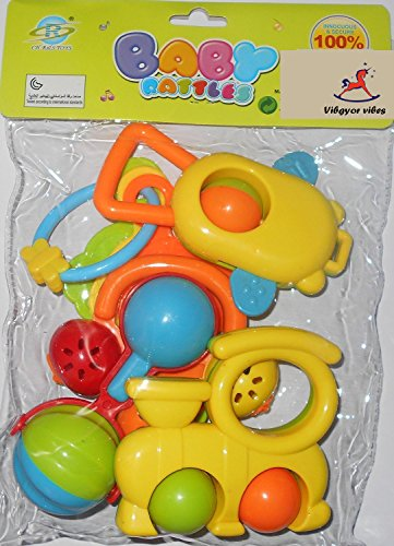 Vibgyor Vibes™ Lovely Mixed Colourful Non Toxic Rattles for Babies, Toddlers, Infants, Child . Pack Of 5