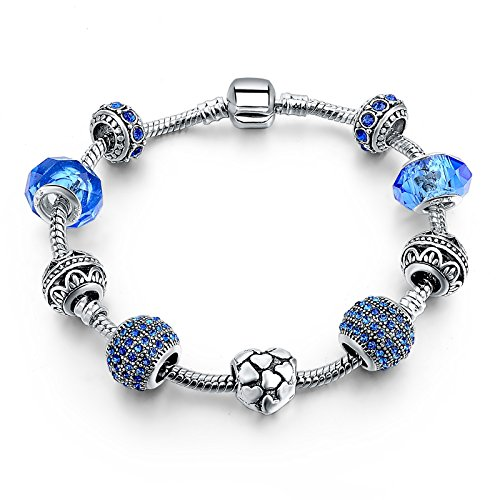 Hot and Bold Sterling Silver Plated Pandora Inspired Pink Charms DIY Bracelet for Women/Girls.Daily/Party Wear Fashion Jewellery. (Blue)