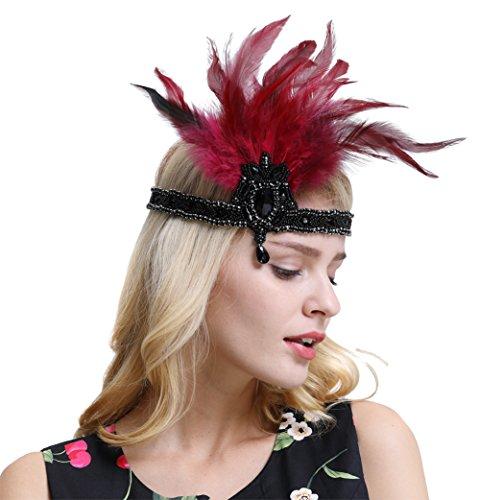 Jahre Flapper Stirnband brüllend 20er Jahre Vintage baumeln Strass Art Deco Kopfschmuck Weinrot (Rotes Burlesque Kleid)