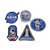 Oxforder NASA Logo Insignia und Space Explorer bestickte Applikation Iron on Patches, 5Stück