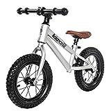 Laufräder Kinder gleichgewicht,Doppel-Rad Pedal Schiebe-LKW 1-3-6 Jahre alt-Silber 12inch