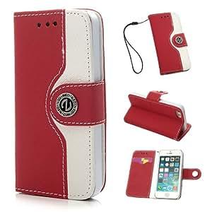 """VCOER Premium Book Style PU Ledertasche / Schutzhülle / Hülle / Cover / Shell / Leder Skin / Flip Case Handy Tasche In der """"Leather Wallet Edition"""" - Design aus PU Leder INKLUSIVE Standfunktion Kredit- oder Visitenkarten für Apple iPhone 5 5G 5S (Red Rot)"""