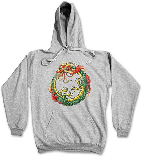 OUROBOROS INFINITY CHINESE DRAGON HOODIE – Drache China chinesisch Uroboros Schlange Ancient Myths Mythologie Snake Asia Tattoo Japanese Art Flash Oldschool Größen XS - 2XL