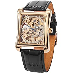 AMPM24 Mens Classic Hollow Skeleton Automatic Auto Mechanical Black Leather Band Wrist Watch + AMPM24 Gift Box PMW079