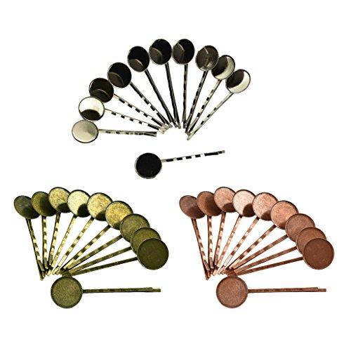 MagiDeal 30pcs Pinces à Cheveux Ronde Cabochon Barrette Supports de Broches Accessoires de Bricolage DIY Bijoux