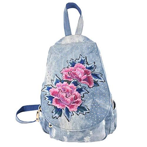 Damen Vintagen Ethno Rucksack Mode Blumenstickerei Backpack Verschleißfest Denim Reise Daypack (Color : Blau, Size : -) - Paper Denim Tuch