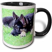 3DROSE mug _ 201547_ 4cucciolo di pastore tedesco tazza in due tonalità nero, 311,8gram, nero/bianco