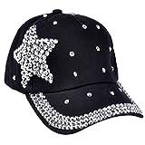 Internet Filles Garçon Casquette de Baseball Chapeaux Strass étoiles Forme Pour les Sports/Casual (Noir)