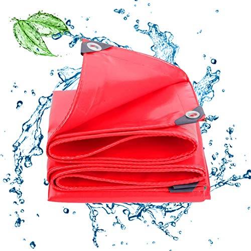 Wasserdichte Plane, Schwer Wasserdicht Schutzplane Zeltplane, Gewebeplane Meterware Verstärkte Ecken Mit Ösen Wasserabweisendes Tarpaulin Reißfest Tarp Red 19.6Mil,6x12ft/2x4m -