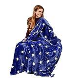 Pink Papaya Snug Me Supersoft Stars, Kuscheldecke mit Sternenmuster, Maße: 150 x 200 cm, Farbe: blau/Weiss