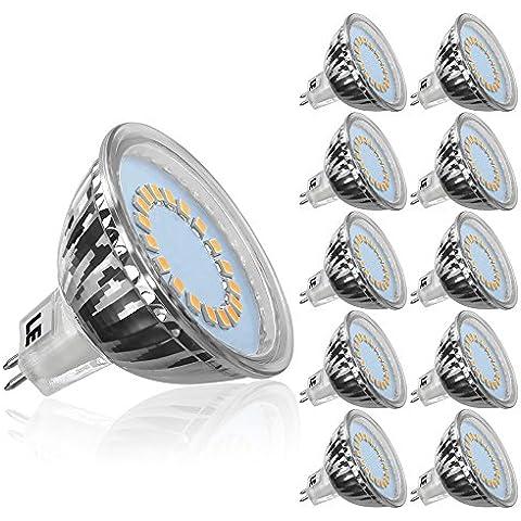 LE Bombillas LED GU5.3 3.5W = 50W Halógena, Blanco cálido, MR16 Haz 120°, Voltaje 12V, Pack de 10