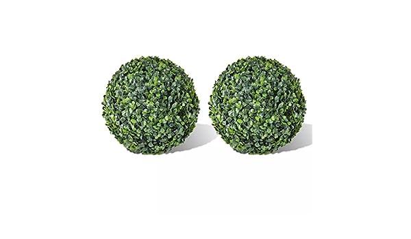 Fesjoy Boule de Topiaire en Feuilles de Buis,Boule de Topiaire Pendante de Plante Topiaire Artificielle,Boule de Plante Artificielle Int/érieure//Ext/érieure 35 cm,2 Pi/èces