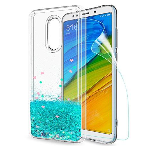 LeYi Hülle Xiaomi Redmi 5 Plus Glitzer Handyhülle mit HD Folie Schutzfolie,Cover TPU Bumper Silikon Flüssigkeit Treibsand Clear Schutzhülle für Case Xiaomi Redmi 5 Plus Handy Hüllen ZX Turquoise