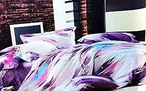 155x200 violett rosa blau weiß mehrfarbig Bettwäsche Bettbezüge Bettwäschegarnituren 100% Baumwollsatin ein schönes Muster pflegeleicht 89