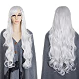 80 cm Peluca cosplay rizada blanca larga atractiva de plata, ZeWoo peluca blanca larga, Peluca de pelo largo rizado de fibra sintética resistente al calor