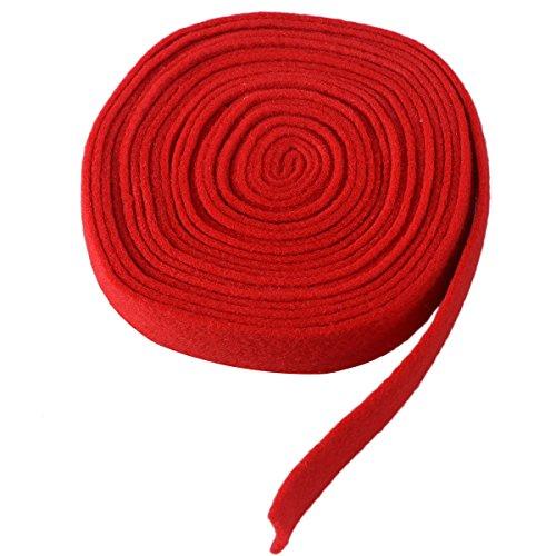 OULII 500cm Filzband Bastelfilz Dekoband Rolle Filzplatten für Weihnachten Advent Hochzeit DIY Dekorationen (Rot)