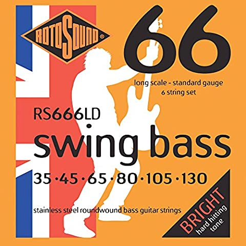 Rotosound Stainless Steel Standard Gauge Roundwound Bass Strings (35 45
