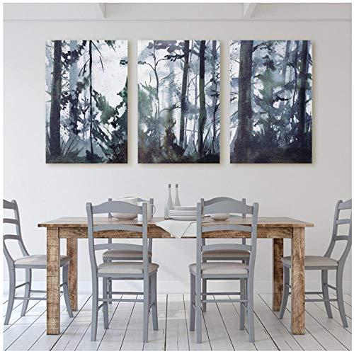 Aquarell-Malerei-Wald Landschaft-Wand Kunst Leinwand Poster Print-Original Kunst Malerei-Nordic Bild Home Room Decor-60x80cmx3 (kein Rahmen) -