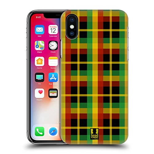 Head Case Designs Azteco Pattern Rasta Colorati Cover Retro Rigida per Apple iPhone X Plaid
