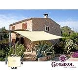 Corasol COR11RE35X45-CW Premium Sonnensegel, 3,5x4,5m, rechteckig, wasserabweisend, cremeweiß