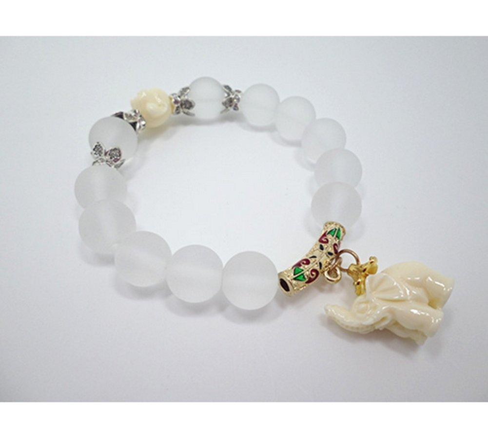 Distinct® Perline di cristallo opaco naturale Bracciale elastico elefante ciondolo bracciali (oro)