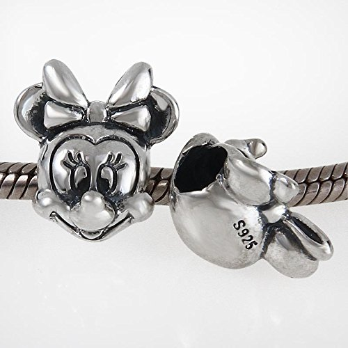 Image of Minnie Mouse Head - Sterling Silver Charm Bead - Spanglebead