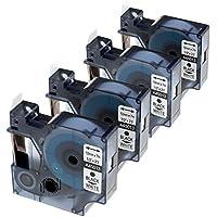 """Ouguan - 4 cintas de etiquetas compatibles con DYMO D1 45013 S0720530, 12 mm, color negro sobre blanco, compatibles con Dymo LabelManager 160, LabelManager 210D, LabelManager 260P, LabelManager 450D, 1/2"""" x 23"""