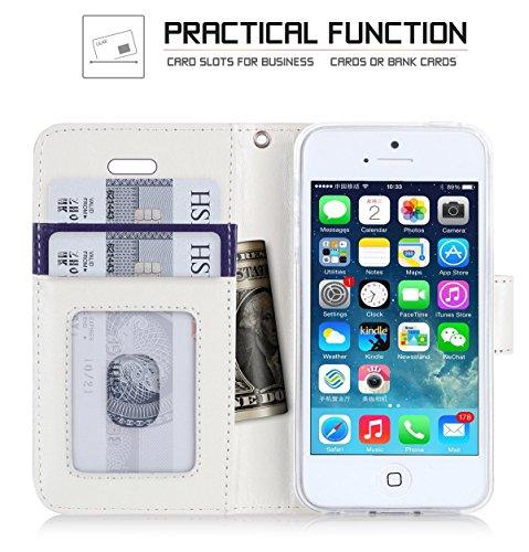 Coque iPhone SE, Coque iPhone 5S, Coque iPhone 5, Fyy® [Rose Or] Étui en cuir PU de première qualité avec Coverture Toute-Puissante pour Apple iPhone SE/5S/5 Bleu Foncé D2-Violet