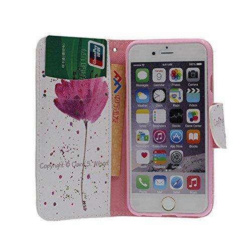 """Foliant Flip Hülle Schutzhülle für iPhone 6 6S 4.7"""", Karte Halter Brieftasche Funktion, Hübsch Tier Gedruckt Malerei Stil ( Leopard ) Case Handy Tasche für Apple iPhone 6S 4.7 Zoll A6"""