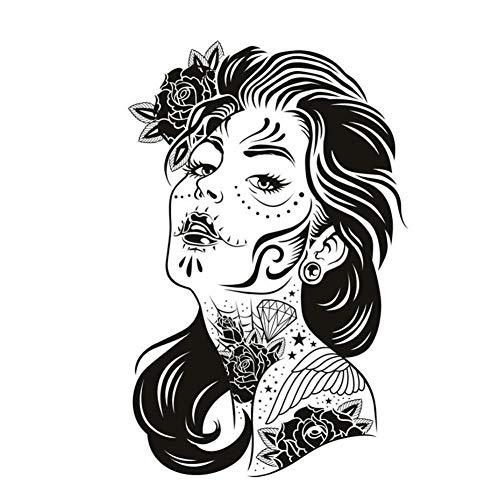 MRQXDP Blumenkunst Tätowierte Locken Frau Klebstoff Wandaufkleber Aushöhlen PVC Removable Home Decor Wohnzimmer Aufkleber Für Wand 57x89 cm Wandaufkleber Wand dormitory wall -
