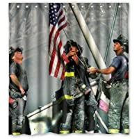 Bestselling Hot Sale Firemen Raising Flag Design Fire Department Custom 100% Polyester Waterproof Shower Curtain 60 x 72
