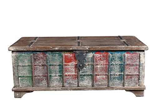 Luxury-Park Table Basse Bas Shabby Chic en Bois recyclé Multicolore Inde