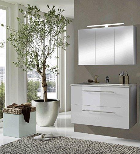 SAM® Design Badmöbel-Set Rimini, 90 cm, in Hochglanz weiß, 2tlg. Designer Badezimmer mit Softclose-Funktion, 1 Waschplatz, 1 Spiegelschrank