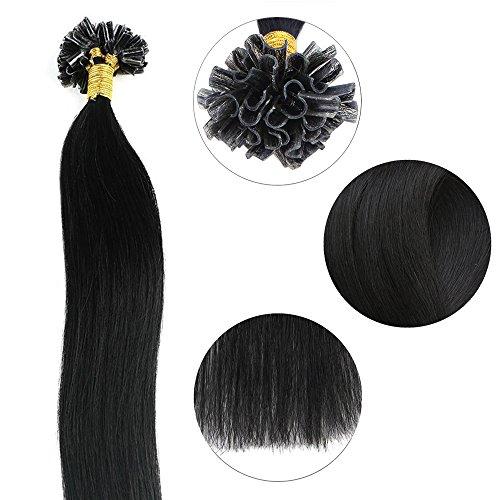 U Extensions Keratin Tip Hair (Extensions Echthaar Bondings 1g U-Tip Haarverlängerung 50 Strähnen Keratin Human Hair 50g-45cm(#1 Schwarz))