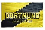 Flaggenfritze® Fanflagge Dortmund Streifen - Die Nr.1 im Pott - 90 x 150 cm