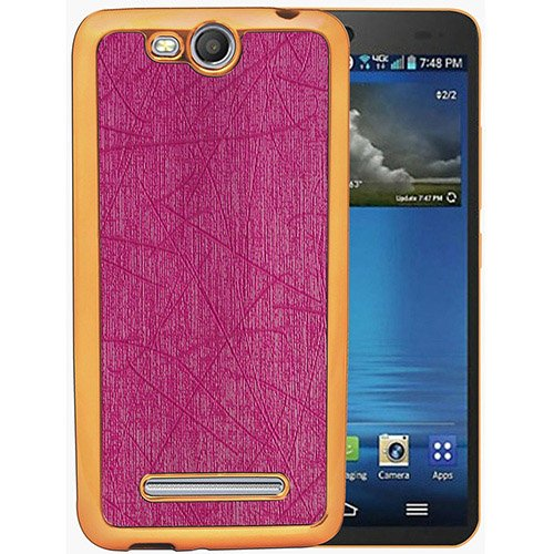 Casotec Electroplated Edge Chrome TPU Leather Back Case Cover for Micromax Canvas Juice 3 Q392 - Pink  available at amazon for Rs.149