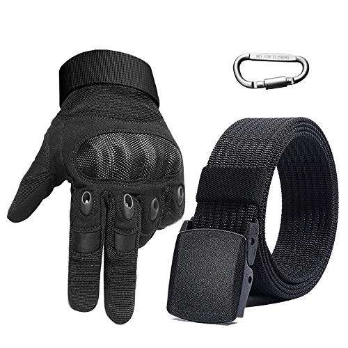 Taktische Handschuhe Herren, Motorrad Handschuhe Vollfinger Handschuhe Berührungssensitiver Bildschirm, Geschenk mit Nylon Gürtel und Haken für Airsoft Militr Paintball Motorrad Fahrrad Sport
