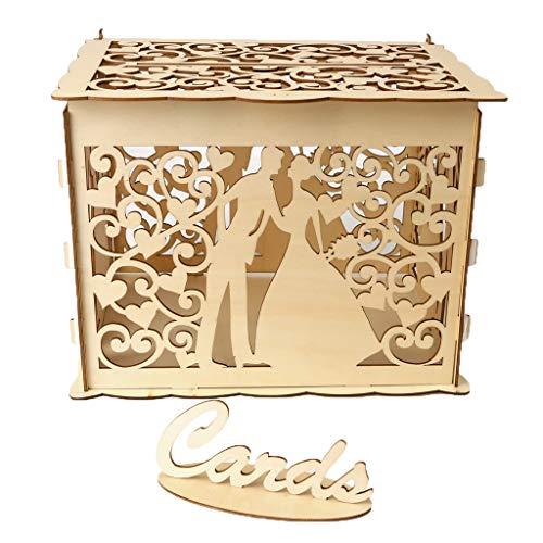 VNEIRW Hochzeitskarte Box aus Holz mit Schloss, Hohler Kartenetui Visitenkarte Box Geschenkbox Briefbox Hochzeitskartenkiste Geschenkkiste 11.81x 9.44 x 8.87inch (Heiraten)