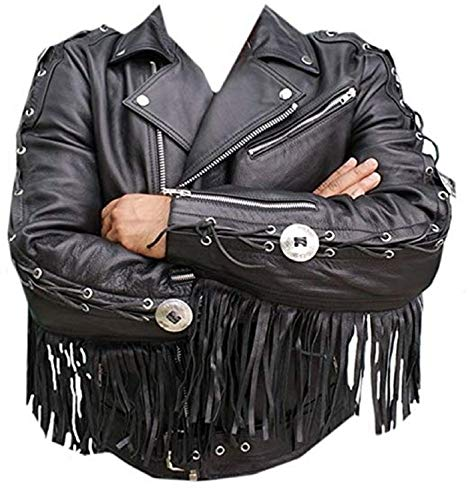 Mens Western Cowboy Genuine Suede Leather Jacket Coat with Fringe 74 XL -