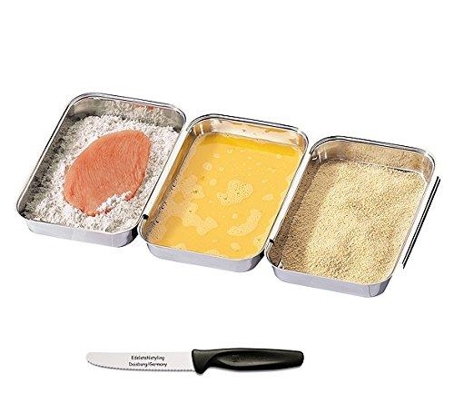 Küchenprofi Panierset, 3 teilig + Edelstahlstyling Universalmesser im Set