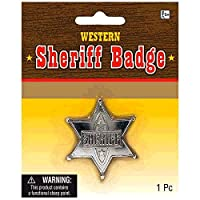 Sheriff Badge Die-Cast Metal Cowboy Cowgirl Fancy Dress Accessory