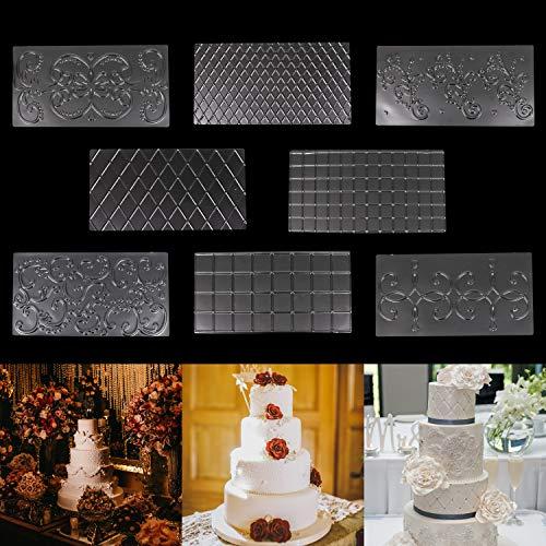 Alfombra para Impresión en Fondant - 8 Piezas 30,5cm x 16cm 2 Diamante, 2 Cuadrados, 4 Diseños Florales...