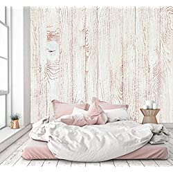 murimage Carta Parati Legno Bianco 274 x 254 cm Parete 3D Natura Shabby Shic Vintage abete rosso fotomurali tavole letto cucina wallpaper camera da letto Include Colla