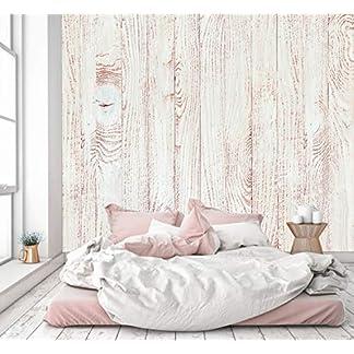 murimage Papel Pintado Óptica de Madera Blanca 274 x 254 cm Fotomurales Vintage Shabby Chic 3D escandinavo Tableros Foto Mural Pared Incluye Pegamento