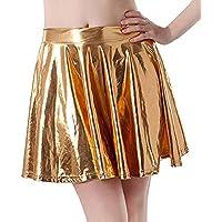Damen Metallischer Faltenrock Mini Skater Rock Frauen Röcke Shiny Metallic Dancewear Hohe Taille Kurz Mini Hippie Röck Flared Ausgestellt Kunstleder Vintage Kleid Minikleid Minirock Rovinci