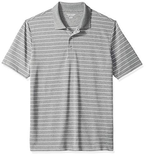 Amazon Essentials Regular-Fit Quick-Dry Stripe Golf Polo Shirt Poloshirt Herren, medium Gray Heather, US (EU XS) - Medium Gray Heather