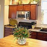 MIHOUNION 4 Stück Künstliche Sträucher Kunststoff Kunstblumen Orange Gypsophila Künstlich Plastikblumen Kunstpflanzen Arrangement Home Garten Büro Veranda Deko - 3